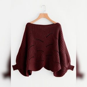 Dolman sleeve scalloped hem oversized sweater